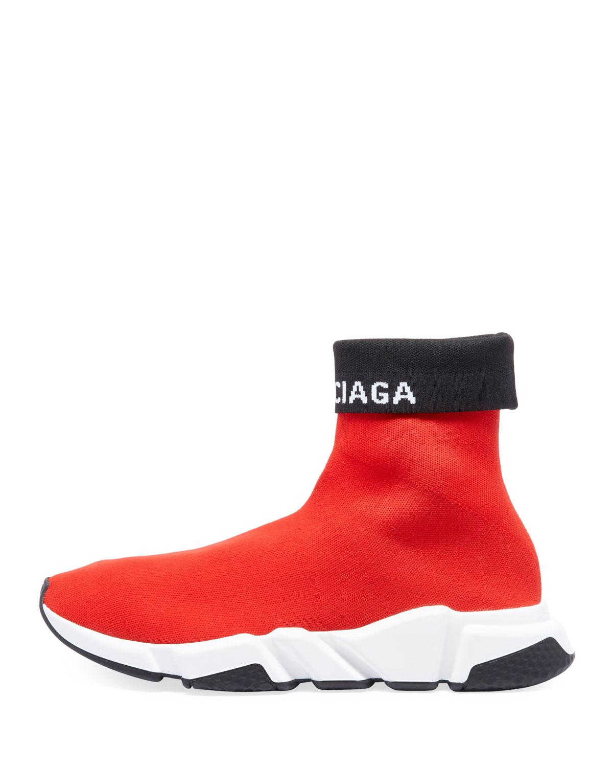 3b2b5cd3ca83 Balenciaga Speed Trainers Cuffed in Red for Men - Save 12% - Lyst