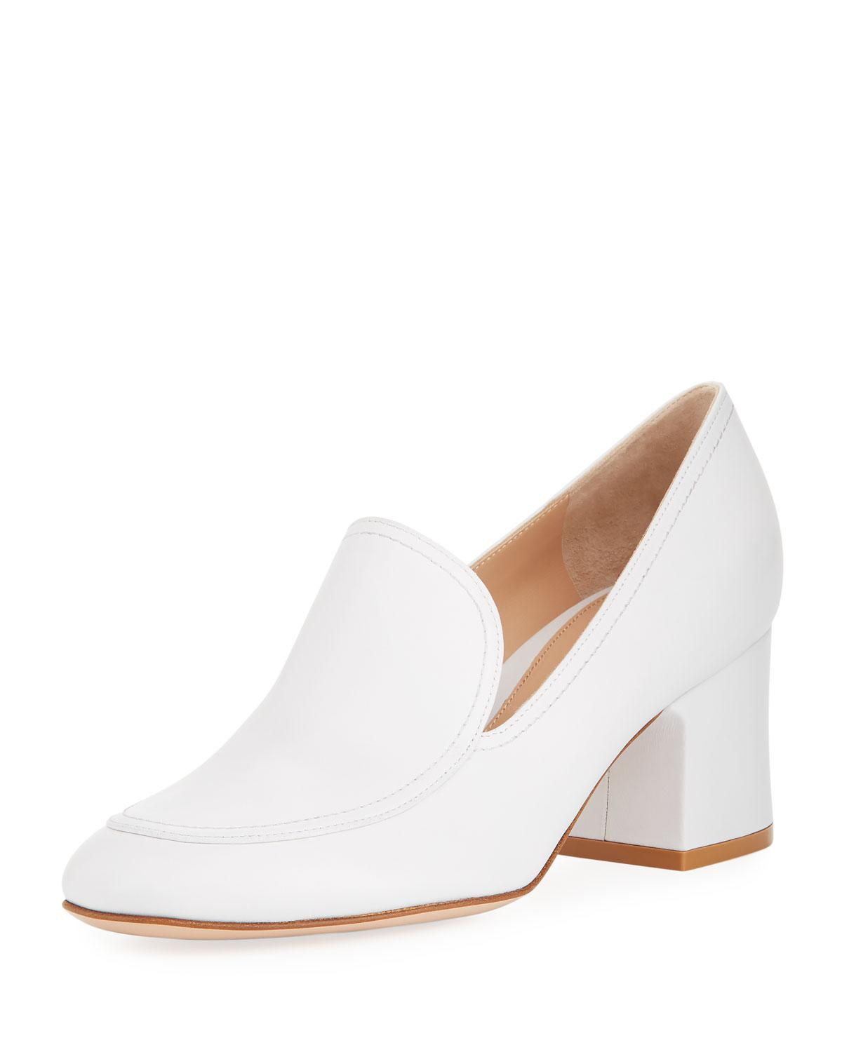 ea15a2e495f Lyst - Gianvito Rossi Marcel 60mm Leather Block-heel Loafer Pumps in ...