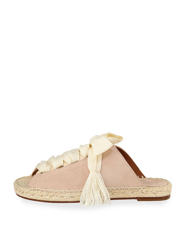 863255aaf Chloé Harper Lace-up Espadrille Slide in Pink - Lyst