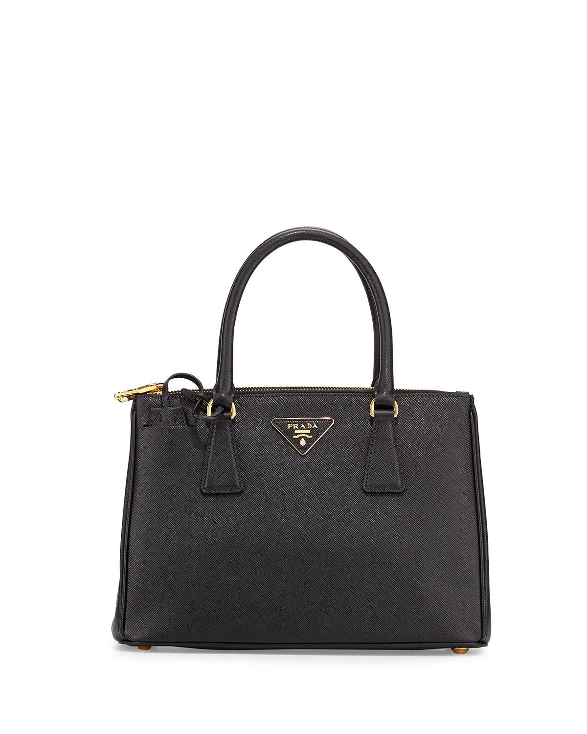 56f3f9251020 Prada Saffiano Small Executive Leather Tote Bag in Black - Lyst