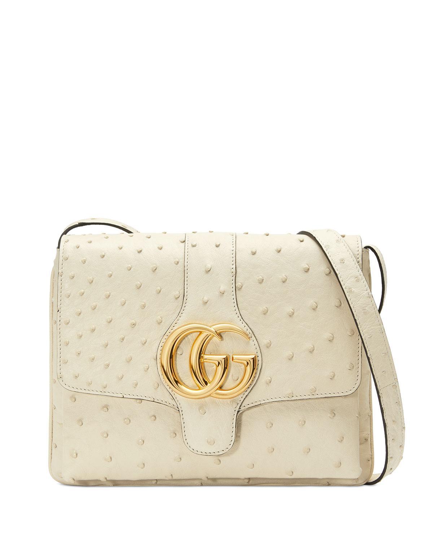 9880725fd85eac Gucci Arli Ostrich Medium Shoulder Bag in White - Lyst
