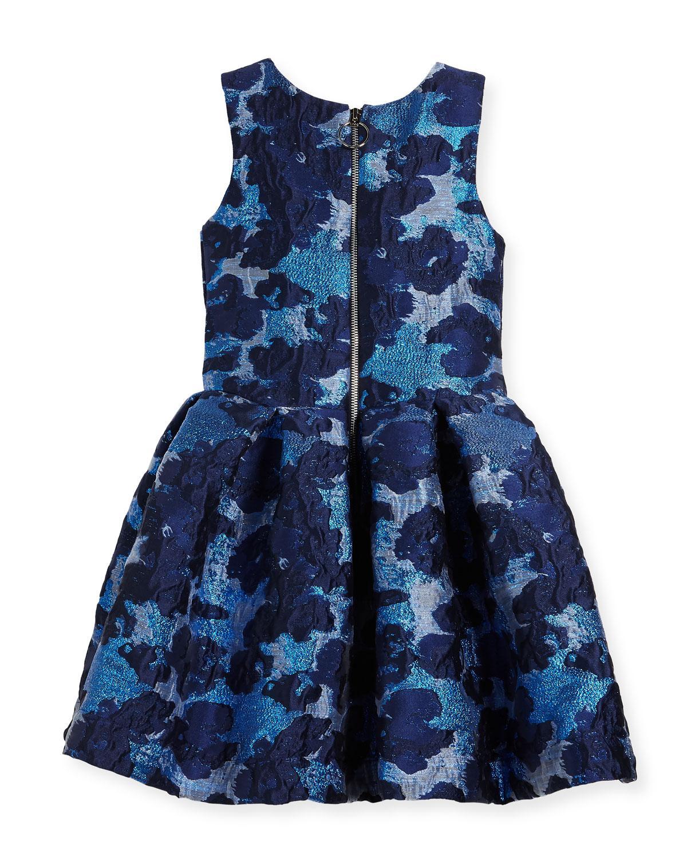 dc797946535 Lyst - Zoe Adele Metallic Brocade Floral Dress in Blue