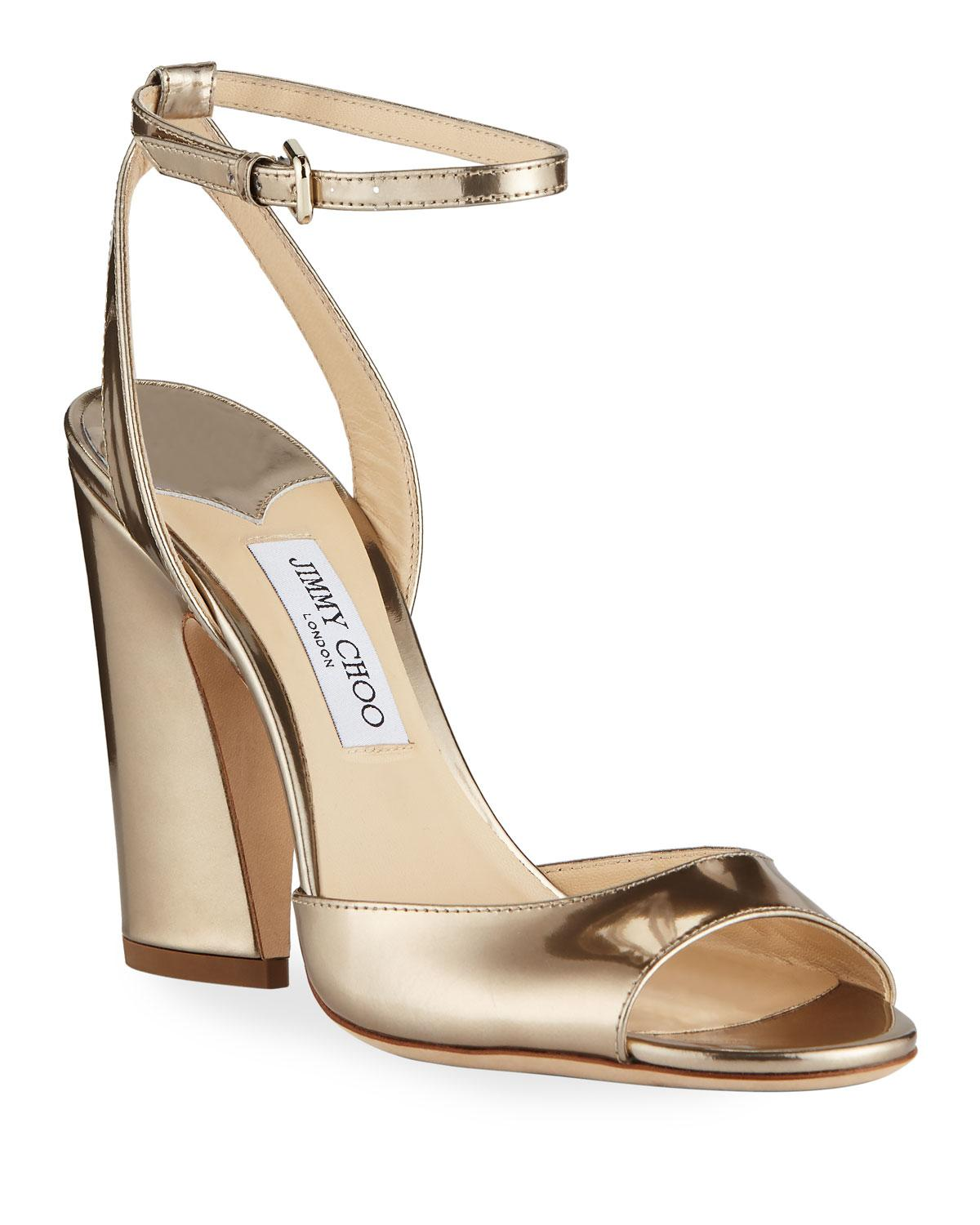 13c96430428c Jimmy Choo Miranda Metallic Leather Sandals in Metallic - Lyst
