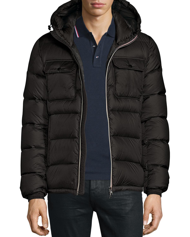 Moncler. Men's Black Morane Logo-stripe Down Jacket