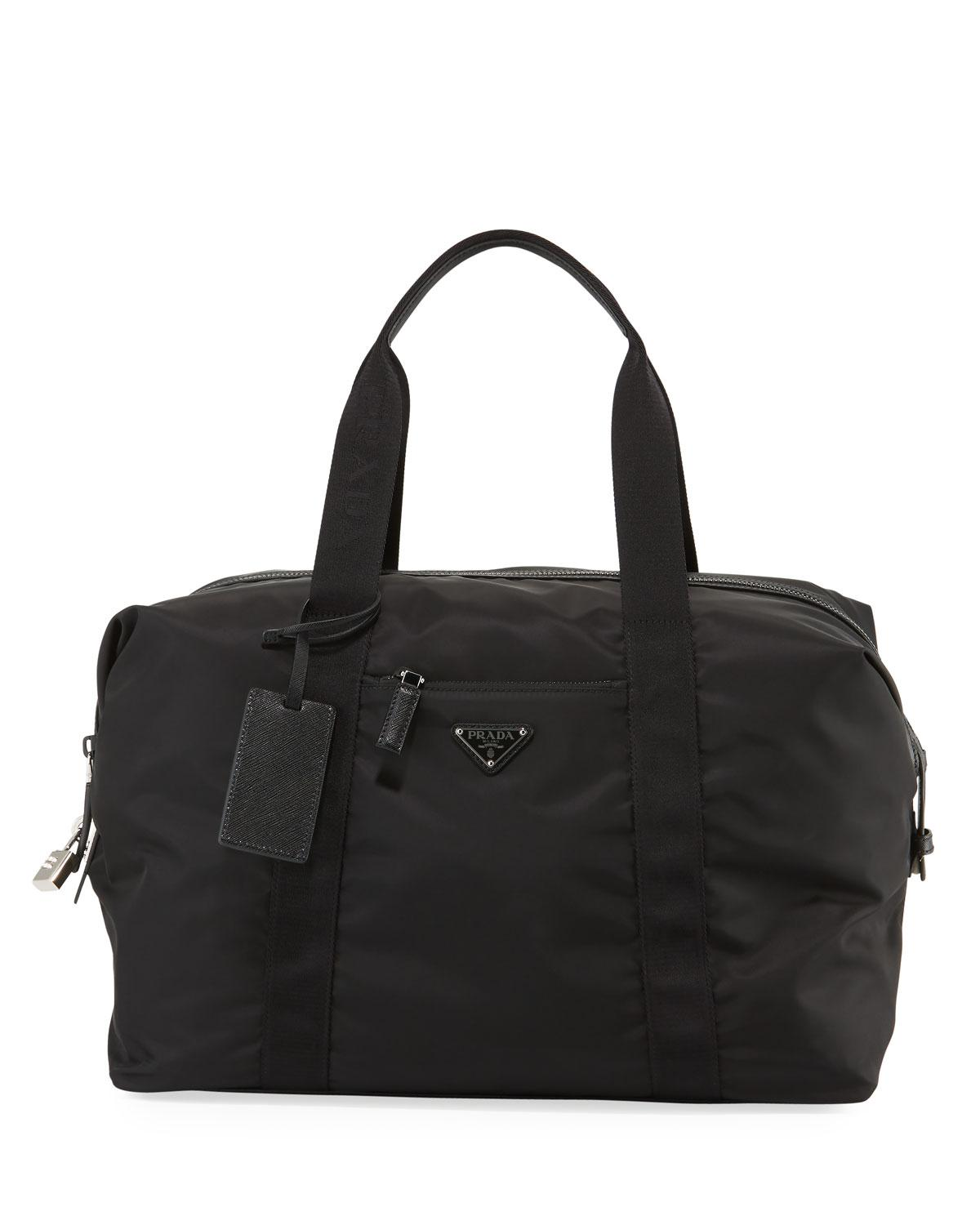 cbec34220f61 ... official store prada black mens nylon saffiano duffel bag for men lyst.  view fullscreen 6738a