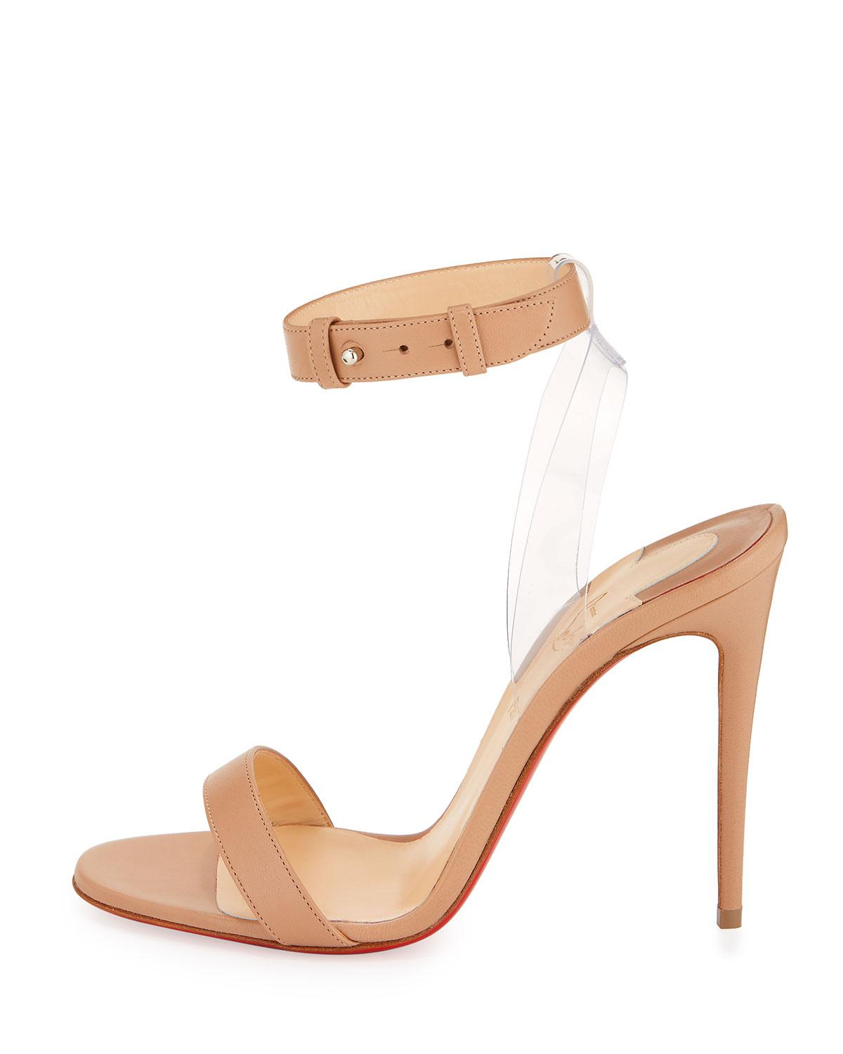 d0ecb9a6f67 Lyst - Christian Louboutin Jonatina Illusion Red Sole Sandal in Natural