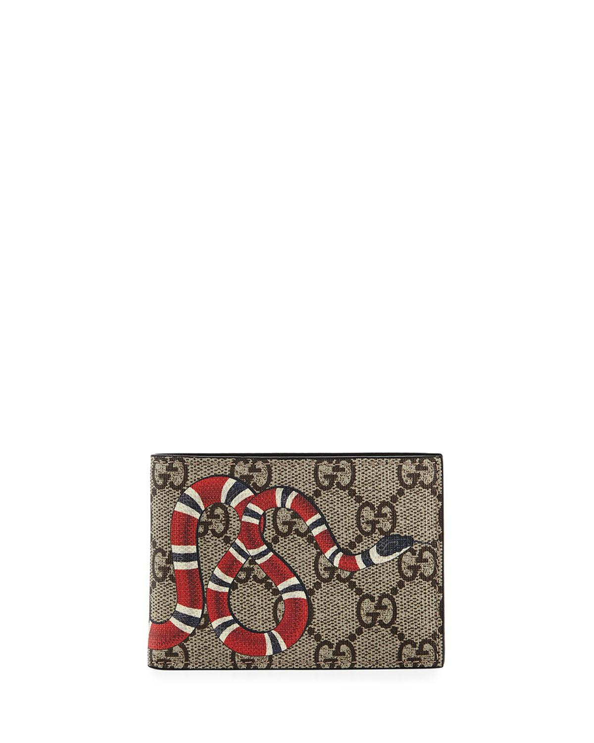 015b50376fbf Gucci Snake Printed Coated Canvas Wallet in Natural for Men - Save ...