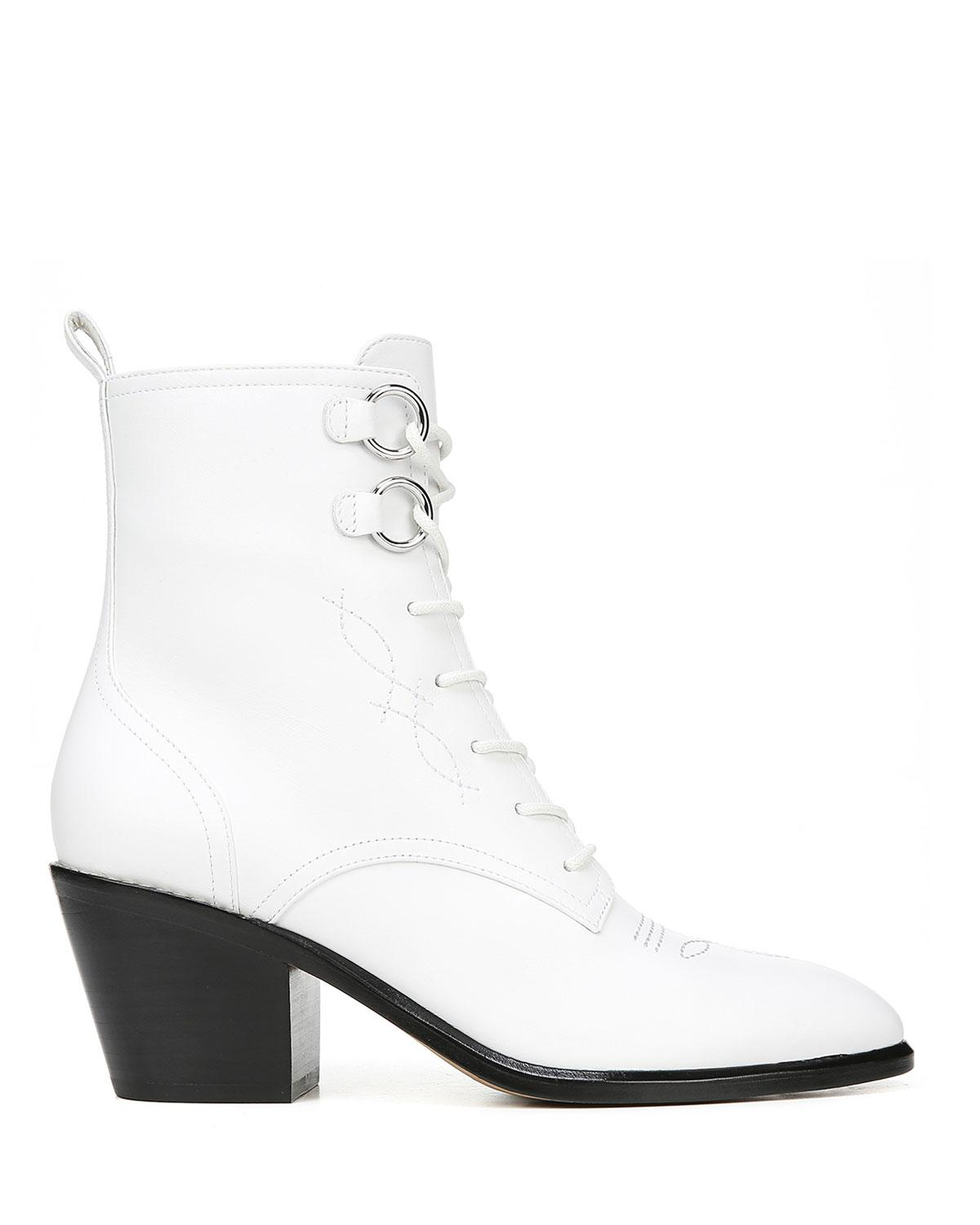 e62d2c863521 Lyst - Diane von Furstenberg Dakota Leather Lace-up Boots in White