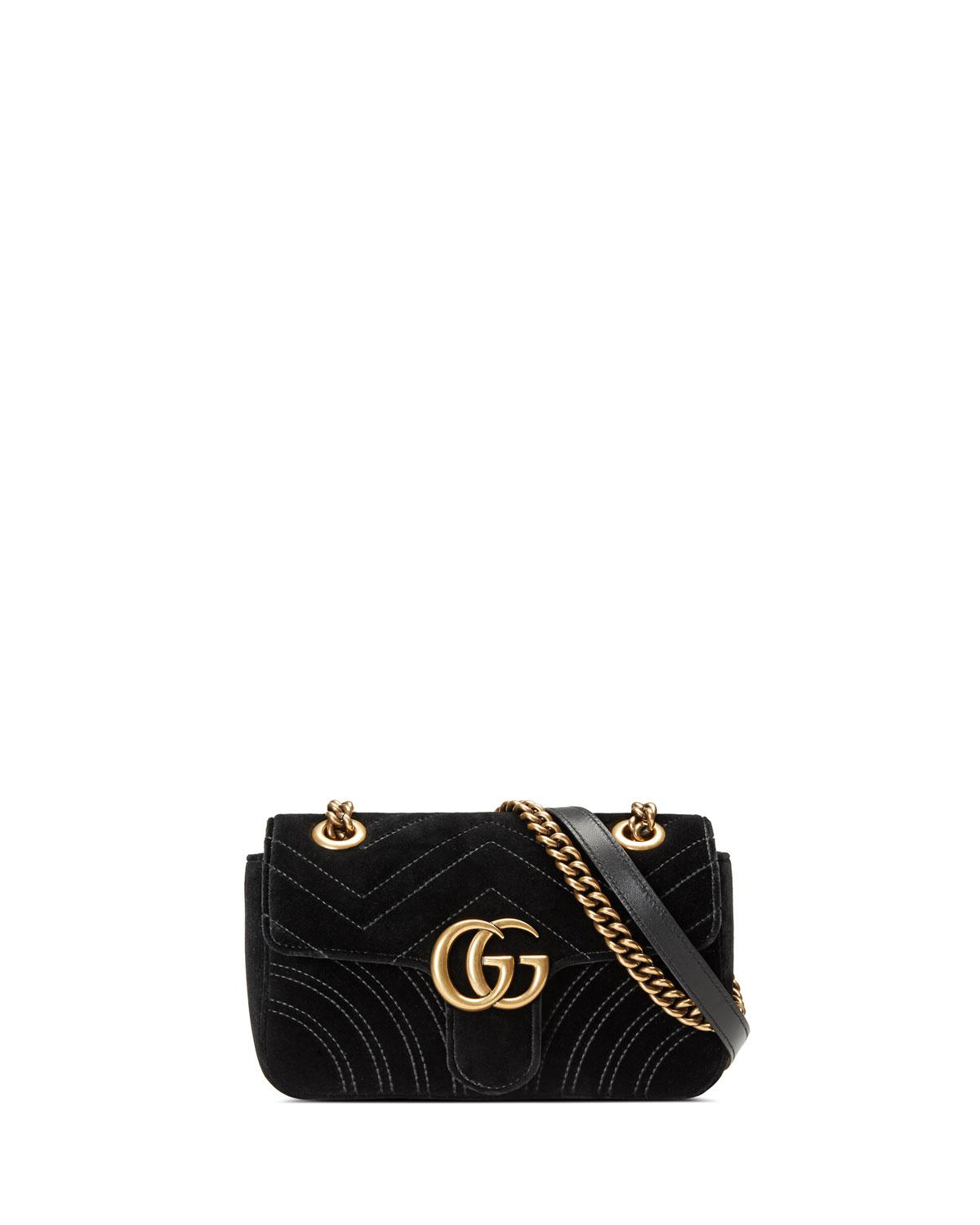 711cc86ac745a Lyst - Gucci GG Marmont 2.0 Mini Quilted Velvet Crossbody Bag in Black