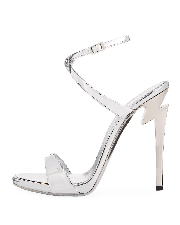 24a89b53811 Lyst - Giuseppe Zanotti Bolt-heel Metallic Leather Ankle-wrap Sandal in  Metallic