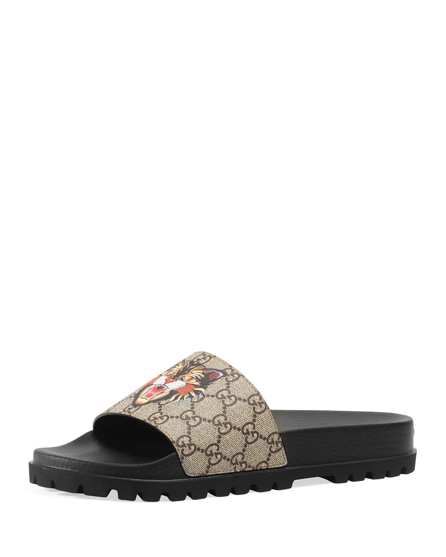166f5081276a Gucci Pursuit Treck Gg Supreme Cat   Eye Slide Sandal for Men - Lyst