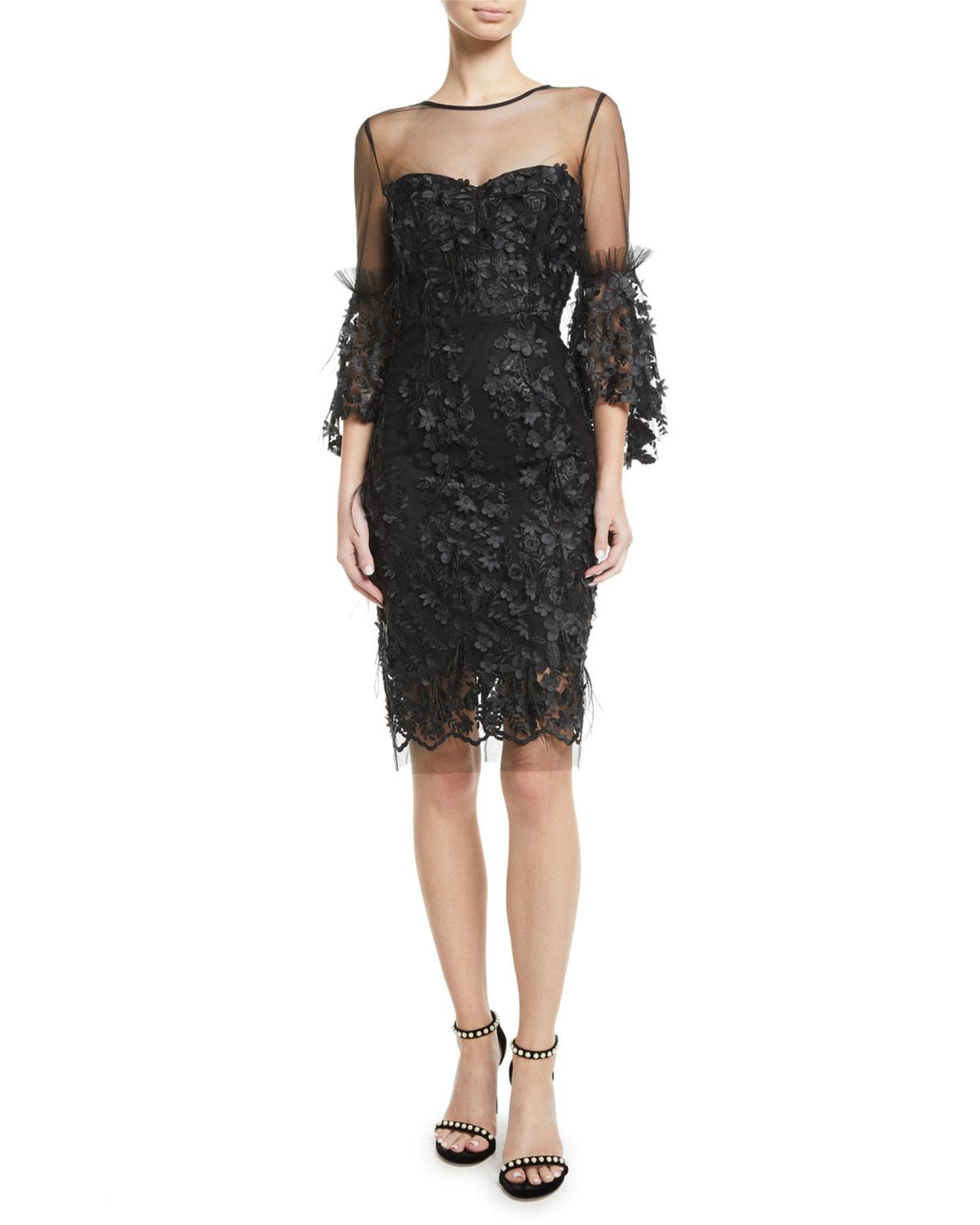 Lyst - MILLY Chrissy Embroidery   Feather Dress in Black f87afcd8d
