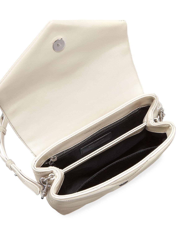 f1ff22e3241c Lyst - Saint Laurent Loulou Monogram Ysl Mini V-flap Calf Leather Crossbody  Bag - Nickel Oxide Hardware