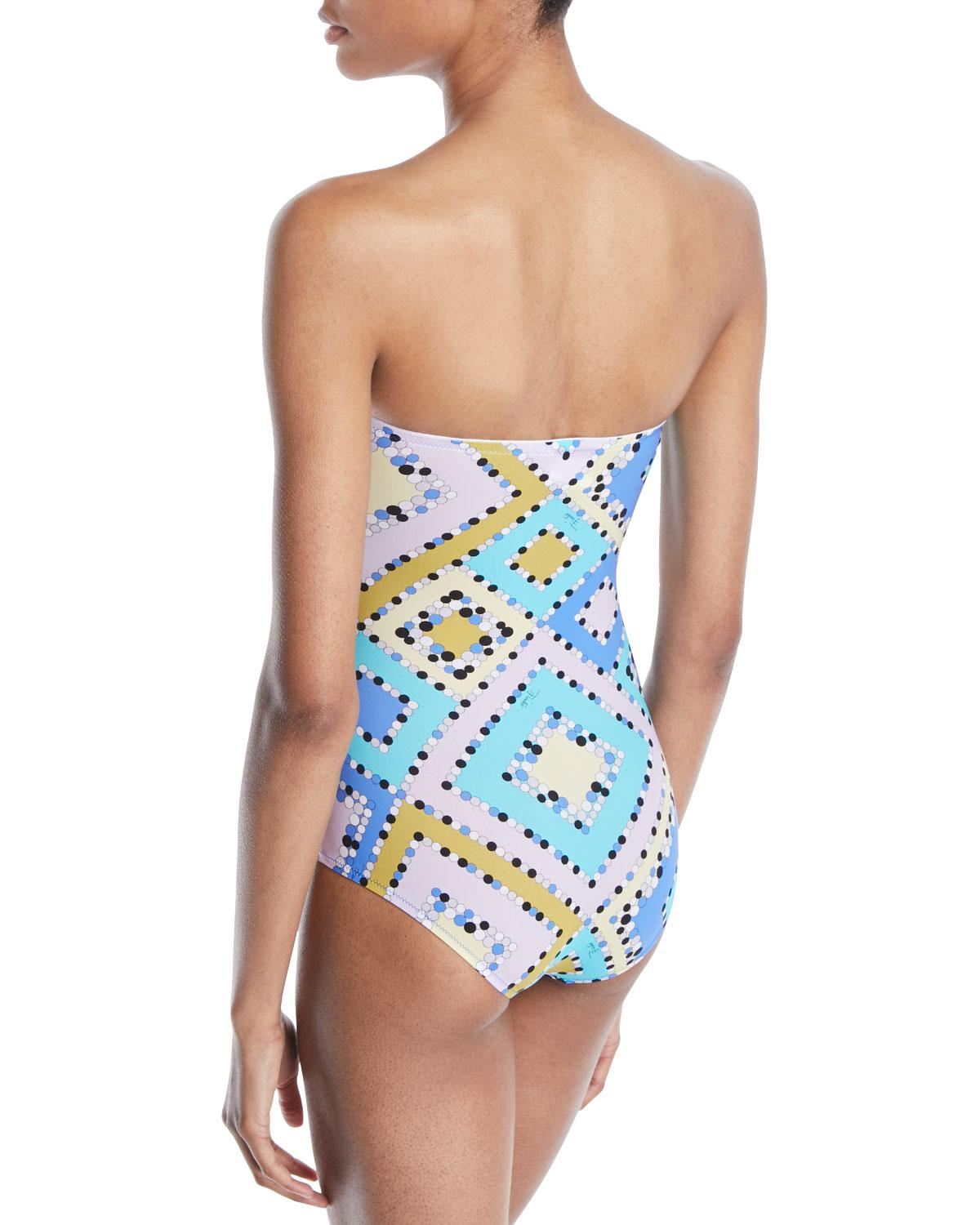 09cf0fdd294bb Lyst - Emilio Pucci Postcards Tie-front One-piece Bandeau Swimsuit in Blue