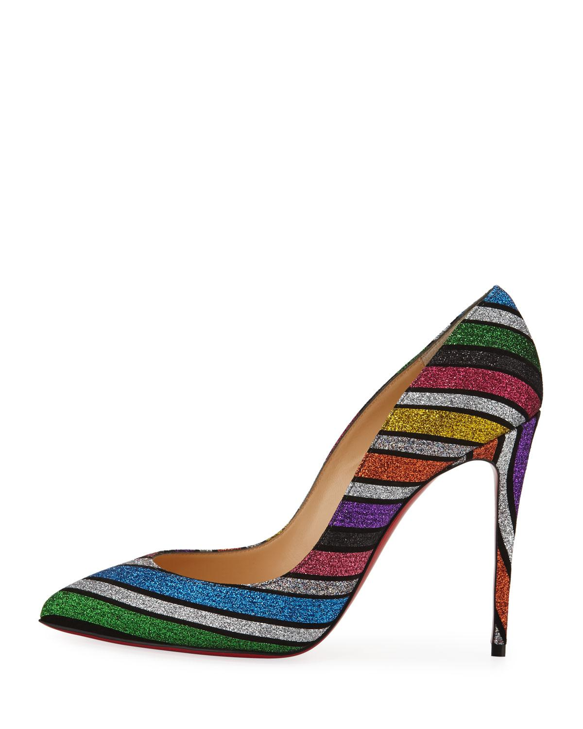 1c5408a9468 Lyst - Christian Louboutin Pigalle Follies Striped Red Sole Pumps in Blue
