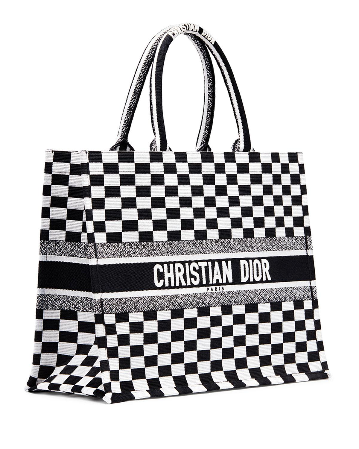 d3e321dfd92a Lyst - Dior Checkered Logo Embroidered Book Tote in Black