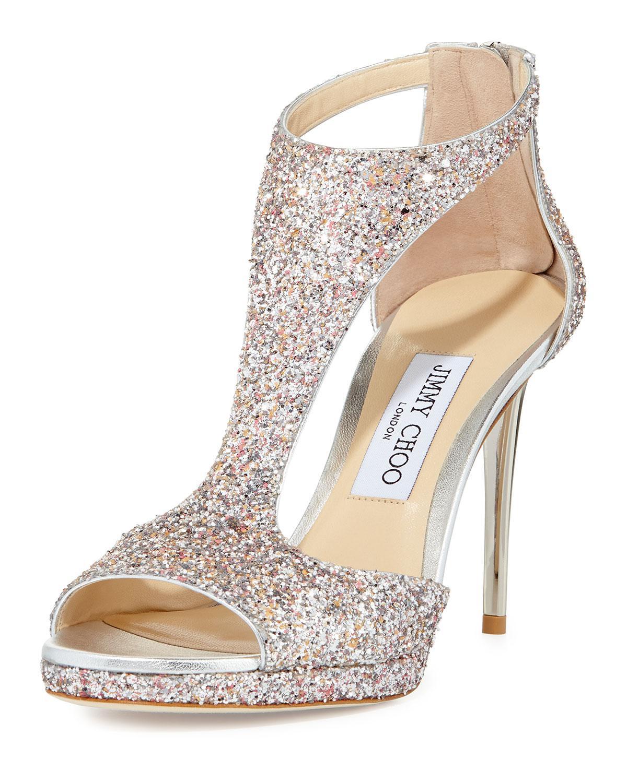 Jimmy Choo Lana Glitter T-strap 100mm Sandal In Metallic