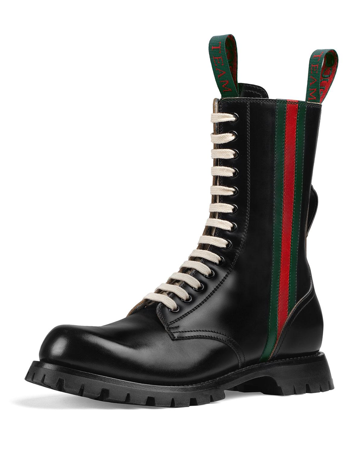 1fd27f0a664b For Black Web Leather Arley Boots Men Gucci In Lyst 0PwF11