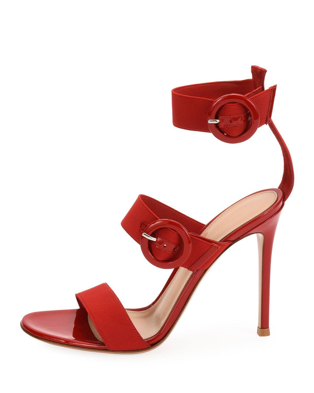 5a46bf70527 Lyst - Gianvito Rossi Velvet Three-strap Sandal in Red