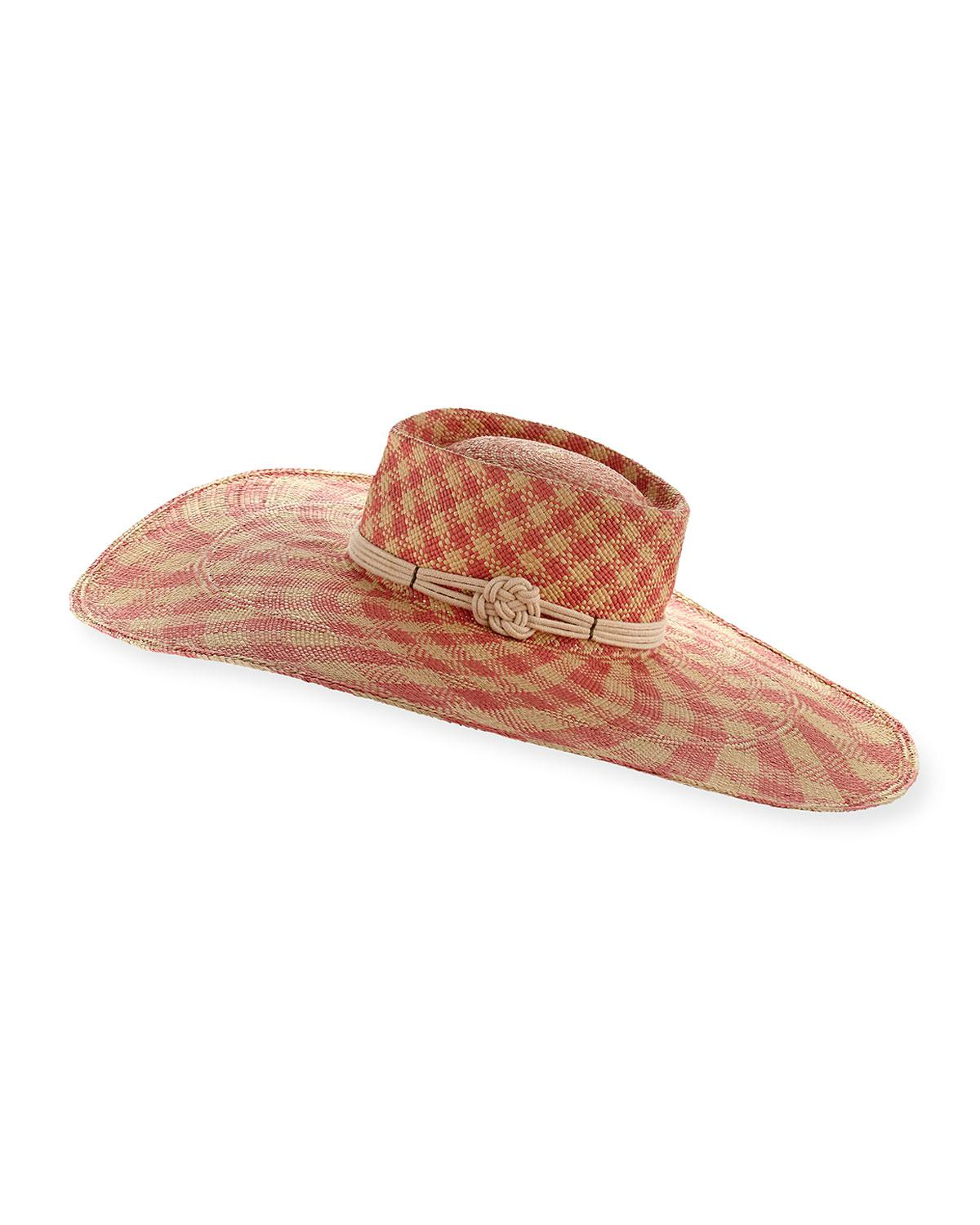 Lyst - Gladys Tamez Millinery The Monroe Checkered Panama Hat in Pink d79f043785c0