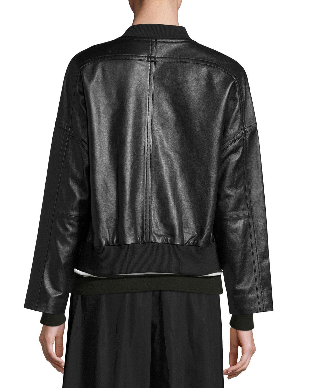 Lyst Vince Drop Shoulder Leather Bomber Jacket In Black
