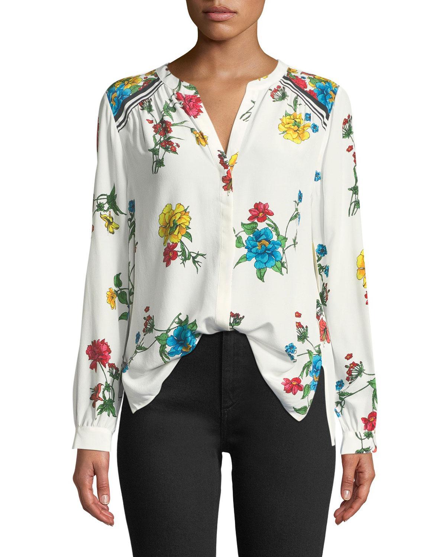 457f6e932d8cf1 Lyst - Joie Yaritza B Floral-print Silk Georgette Top