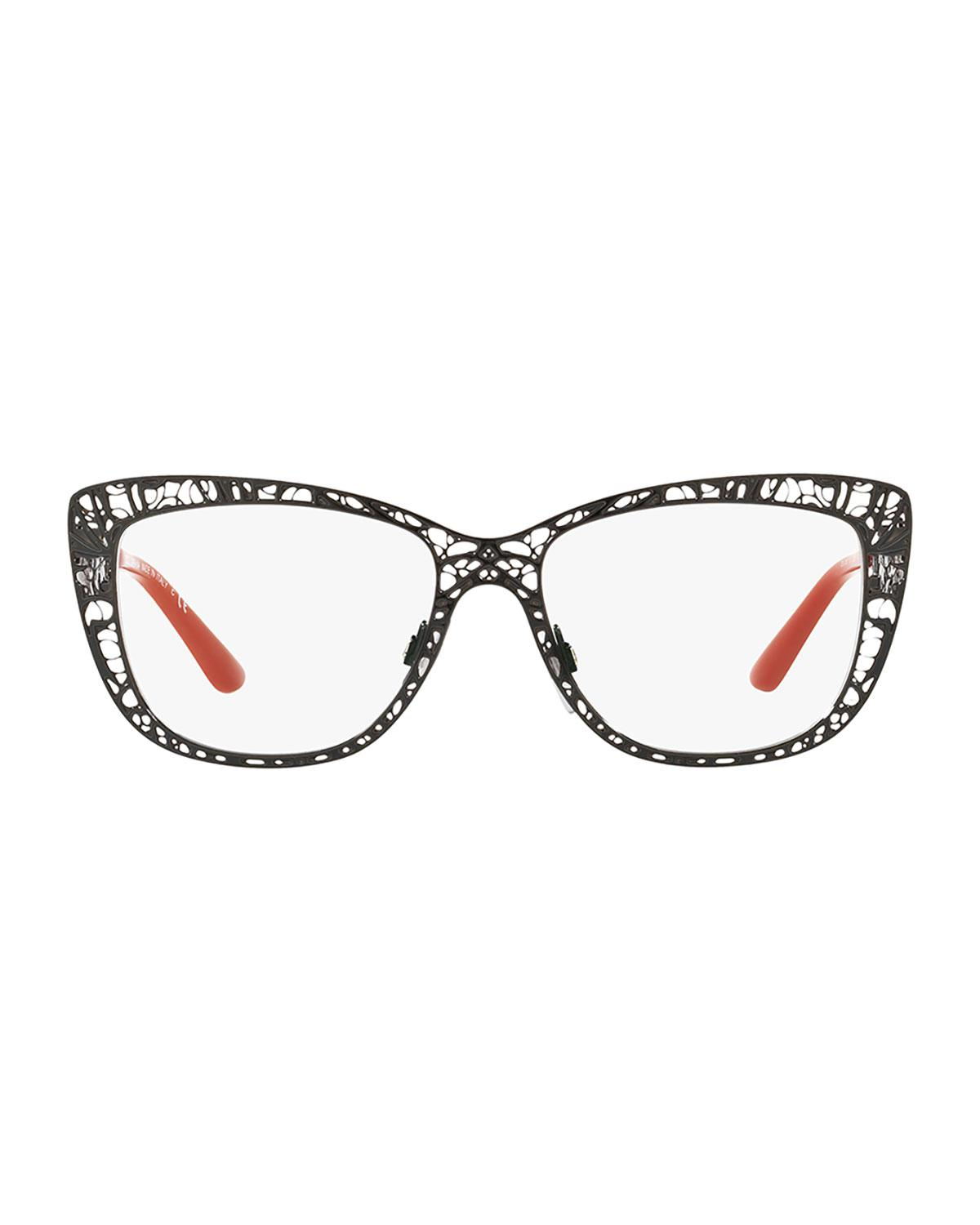 b92eaa8e122 Lyst - Dolce   Gabbana Flowers Lace Square Optical Frames in Black