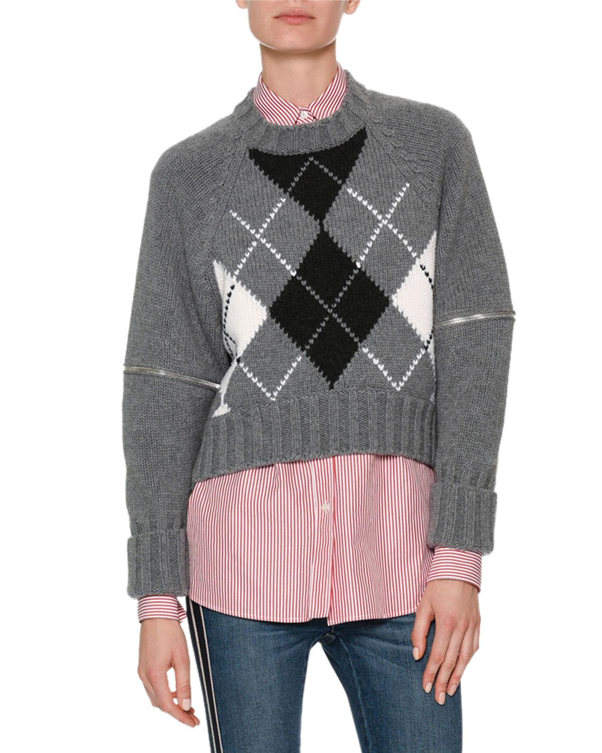 zip sleeve argyle sweater - Grey Alexander McQueen Latest Collections Cheap Sale Shop For Clearance Cheap Price Wholesale Quality YAzYPI