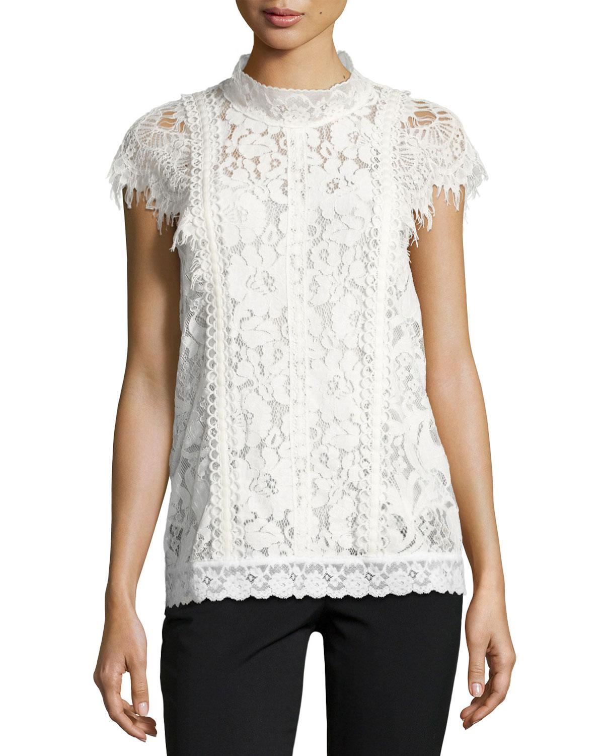 Lyst - Burberry Lace Cap-sleeve Top in White
