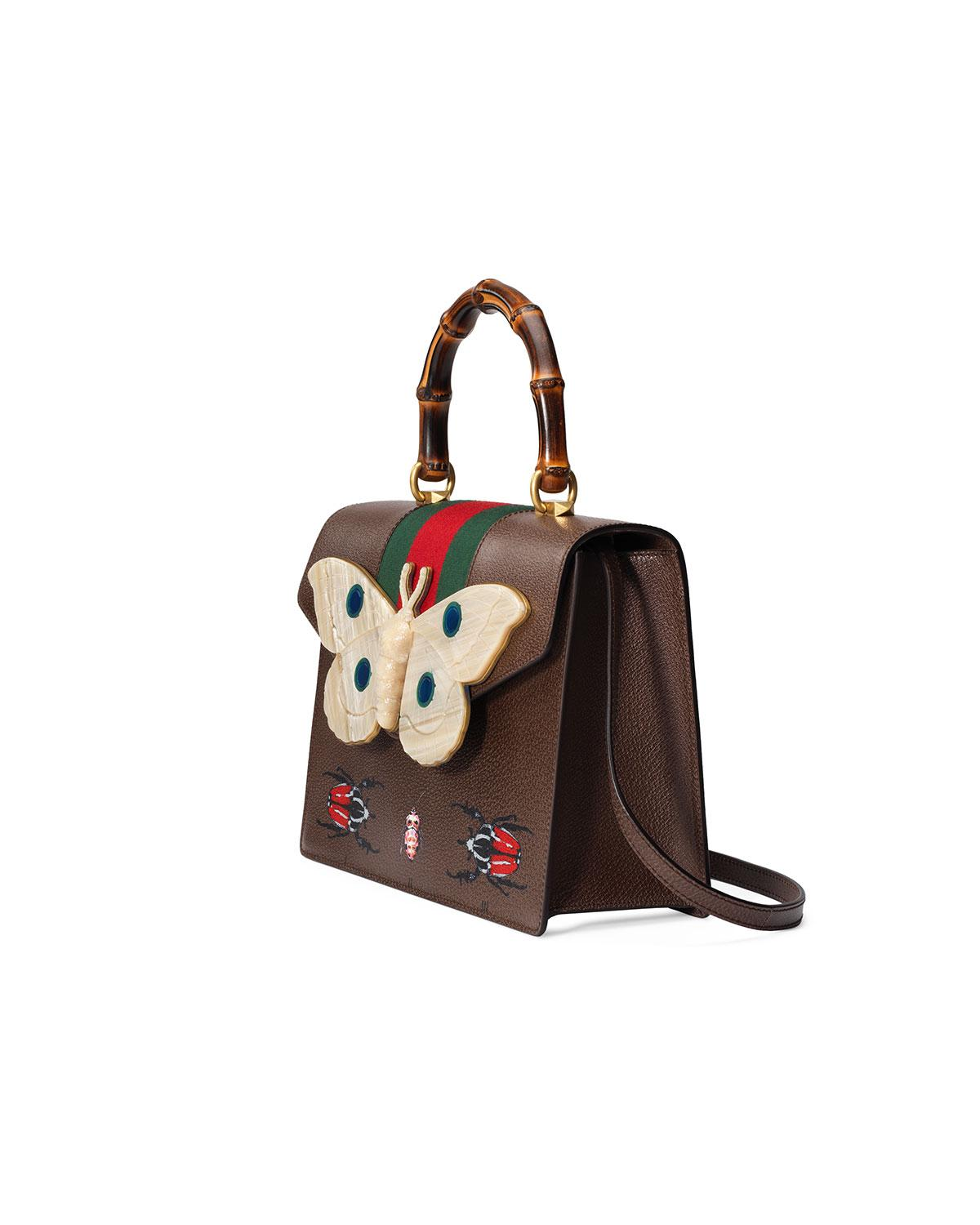 1b2c3d54c44 Lyst - Gucci Falena Medium Moth Top-handle Bag With Green red Web in ...