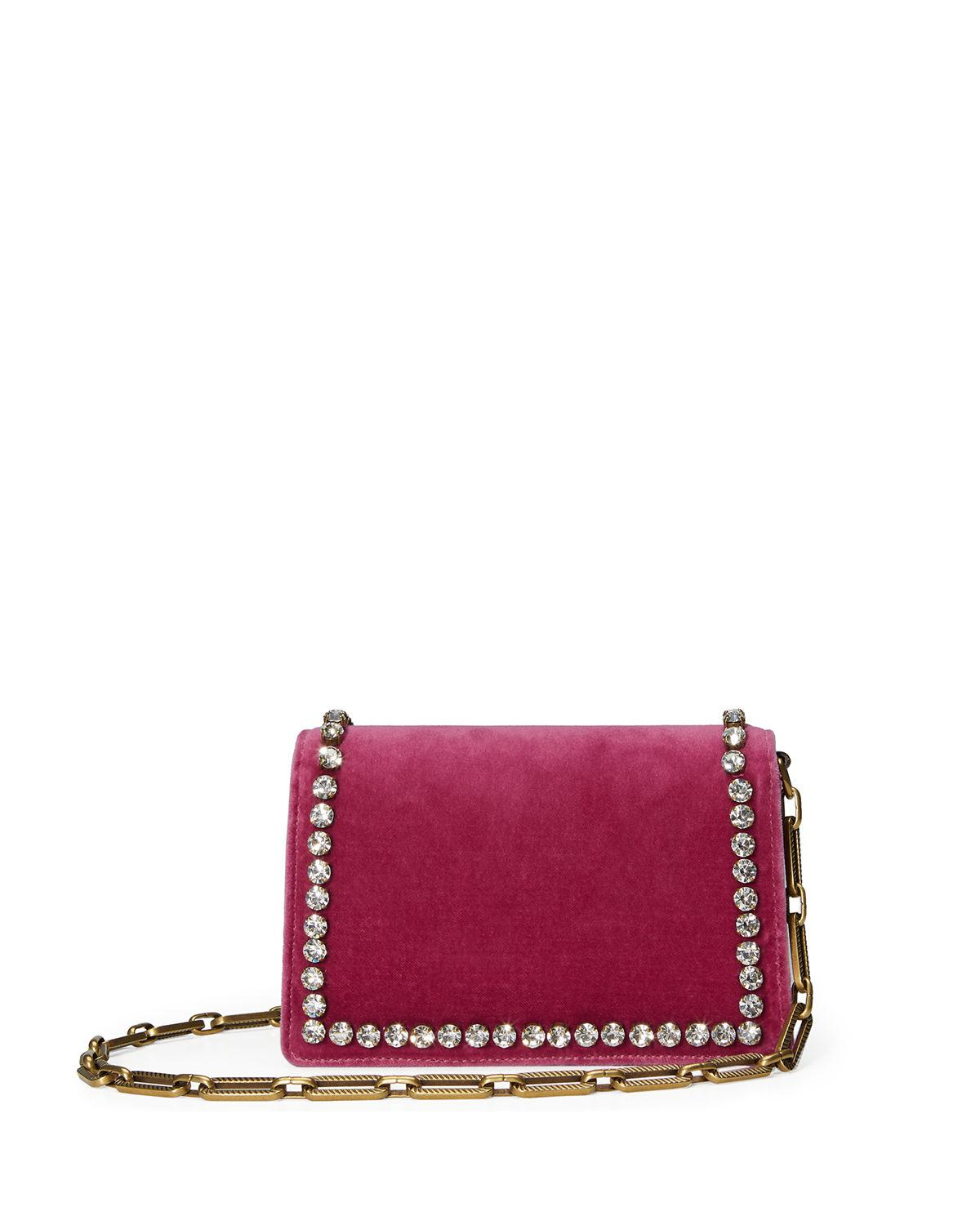 Lyst - Gucci Broadway Small Velvet Bee Shoulder Bag in Pink fe2a29888c0f4