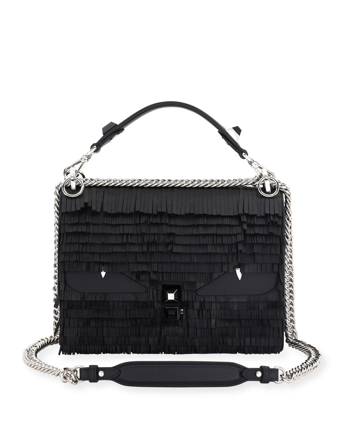 6f527ba446c0 Lyst - Fendi Kan I Fringe Monster Shoulder Bag in Black