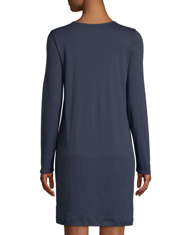 d964344aab Lyst - Hanro Liv Long-sleeve Short Nightgown in Blue