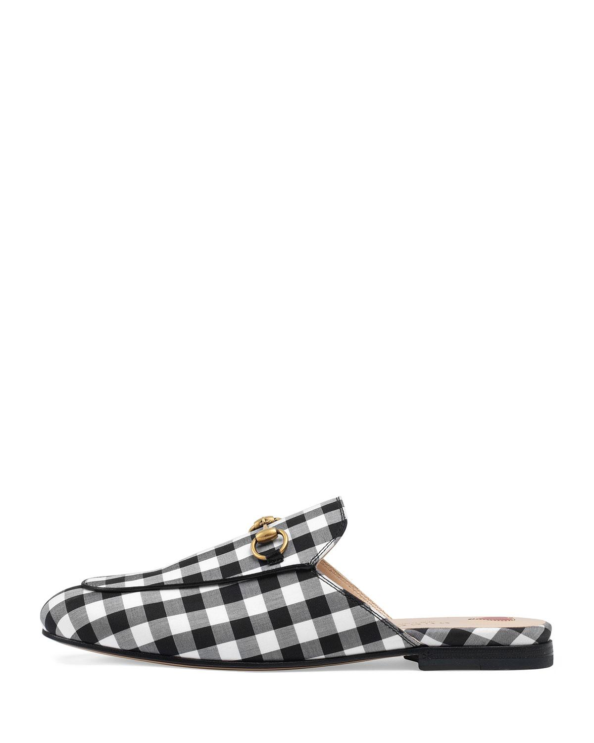 669983150ba Lyst - Gucci Gingham Mule Slide in Black