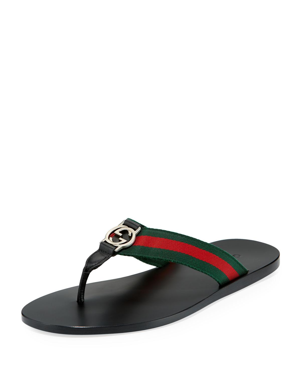 23ff1970713dd8 Lyst - Gucci GG Line Signature Web Thong Sandal in Black for Men
