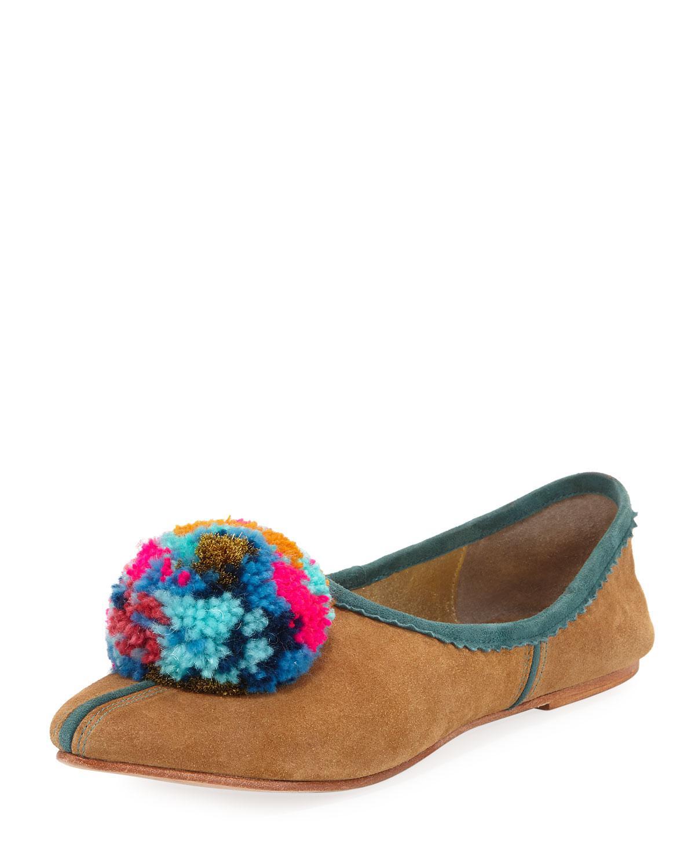 Ines pompom-embellished slippers - Black Figue v7b7rG