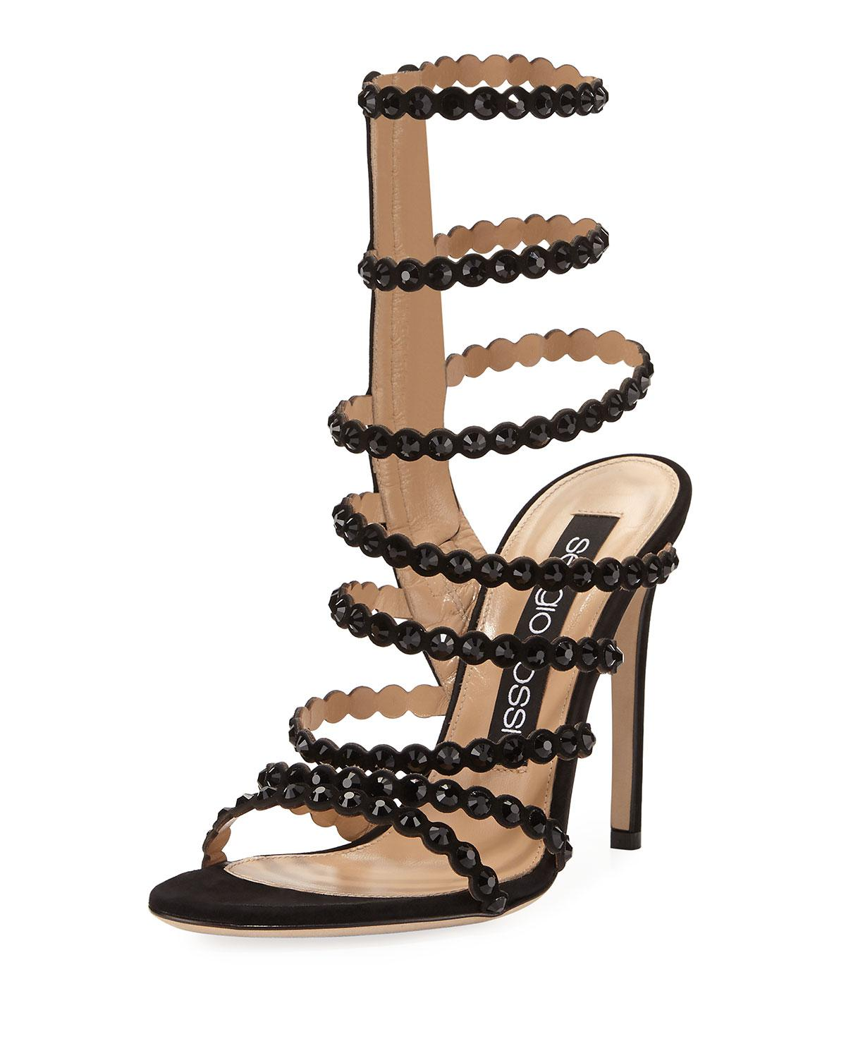 Black suede sandals with studs Sergio Rossi fuzoqSB