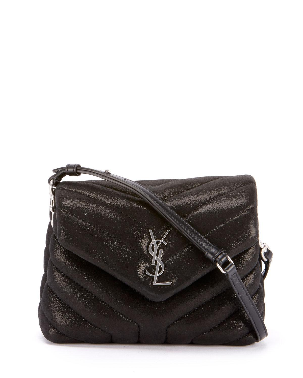517d4a7e98 Lyst - Saint Laurent Loulou Monogram Ysl Mini V-flap Calf Suede ...