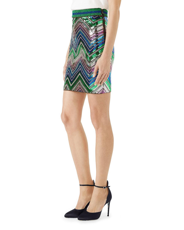 cbe2d40e1 Gucci Chevron Sequin Knit Mini Skirt in Blue - Lyst