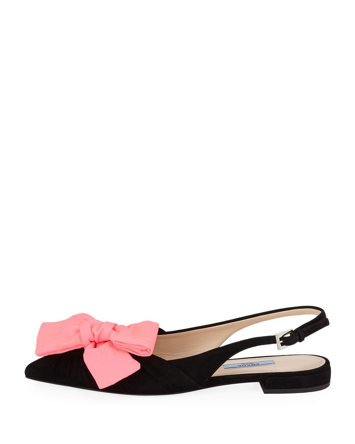a599584ce8c Lyst - Prada Two-tone Bow Slingback Flats in Pink