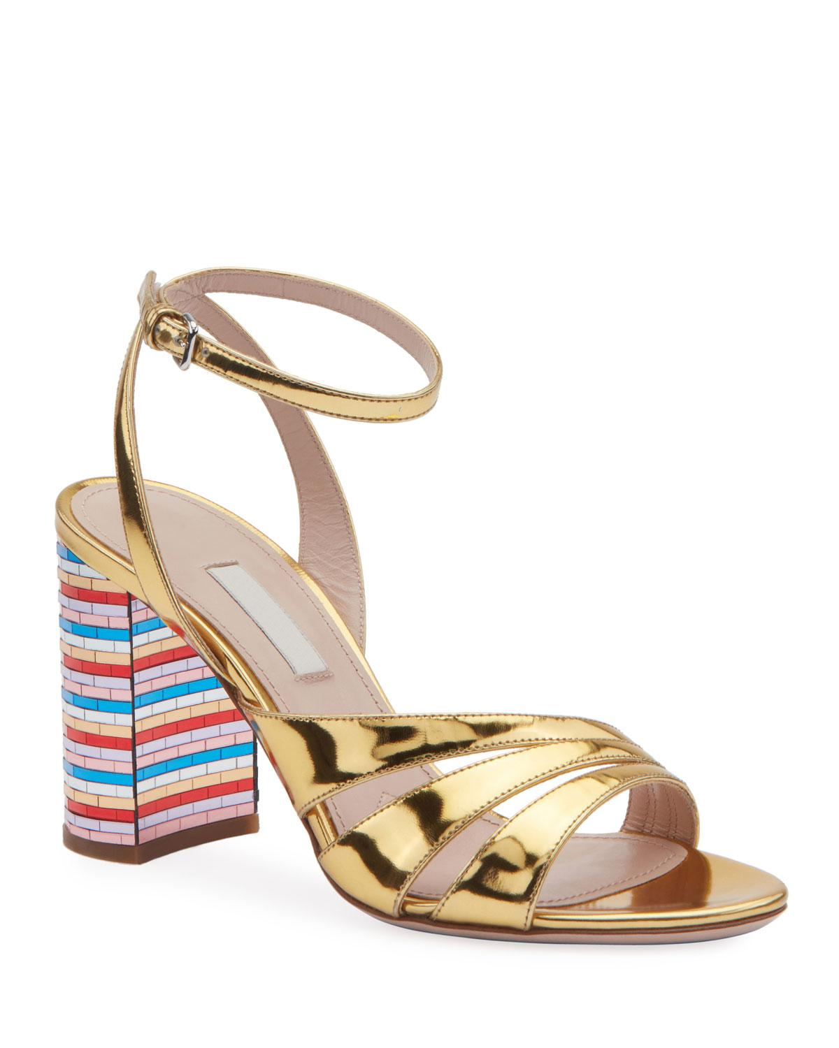 d33f29be5a6 Lyst - Miu Miu Metallic Strappy Sandals With Rainbow Heel in Metallic