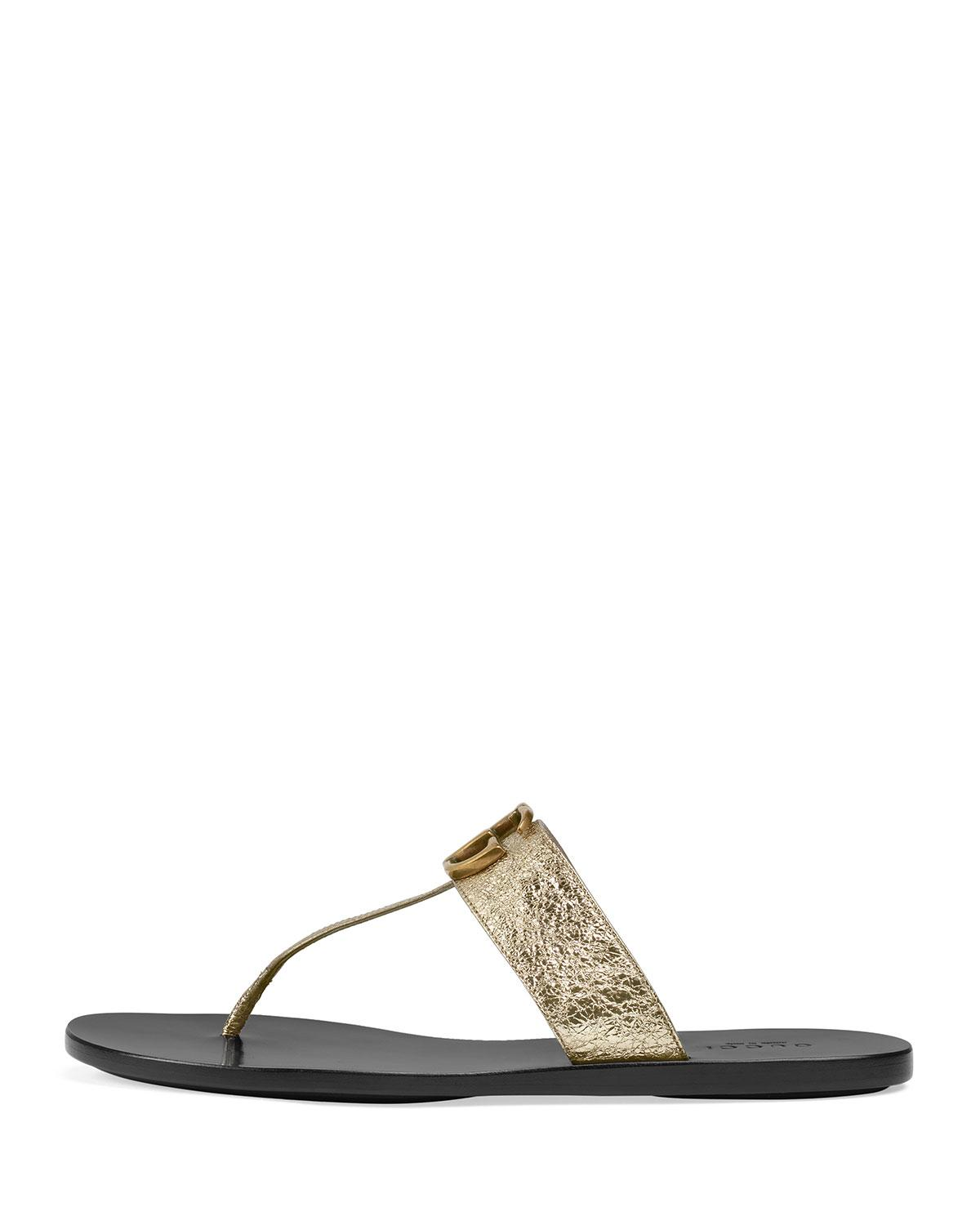 bd9a98c220c6 Lyst - Gucci Gold Double G Leather Thong Sandal. in Metallic - Save 13%