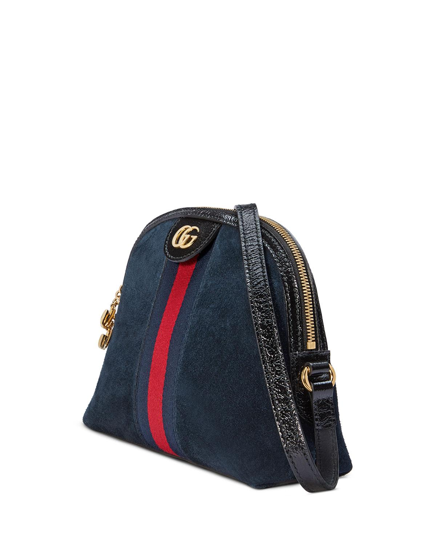 163fec3322f Lyst - Gucci Linea Dragoni Suede Small Chain Shoulder Bag in Black