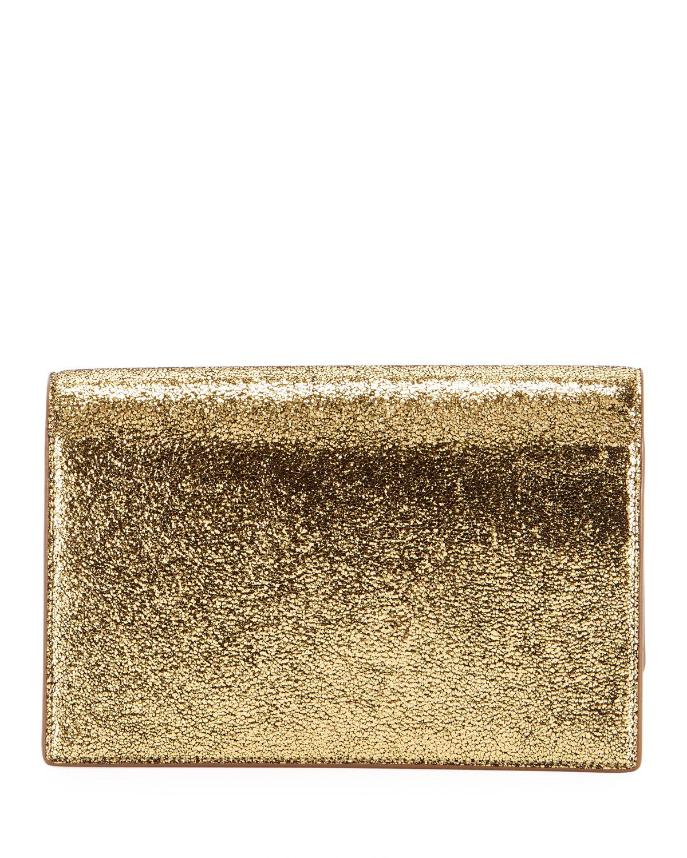 e47798c15096 Lyst - Saint Laurent Kate Monogram Ysl Small Crackled Metallic Wallet On  Chain - Bronze Hardware in Metallic