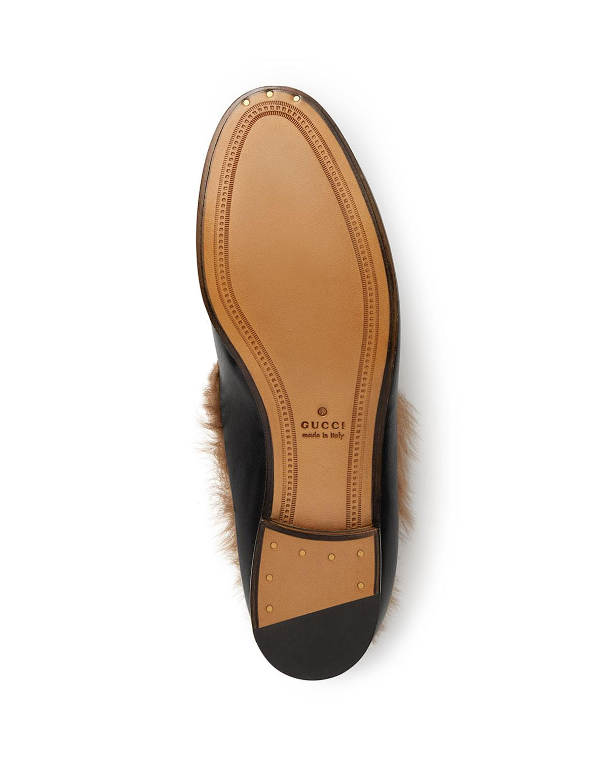 1541aa57472 Gucci - Black 10mm Jordaan Leather And Fur Loafer - Lyst. View fullscreen