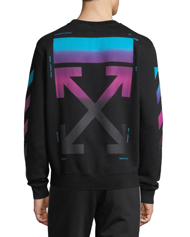Off-White c o Virgil Abloh - Black Men s Diagonal-gradient Pullover Sweater 06487eed1