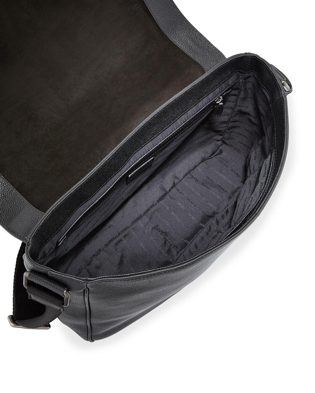 d86a86922b89 Giorgio Armani Caviar Leather Messenger Bag in Black for Men - Lyst