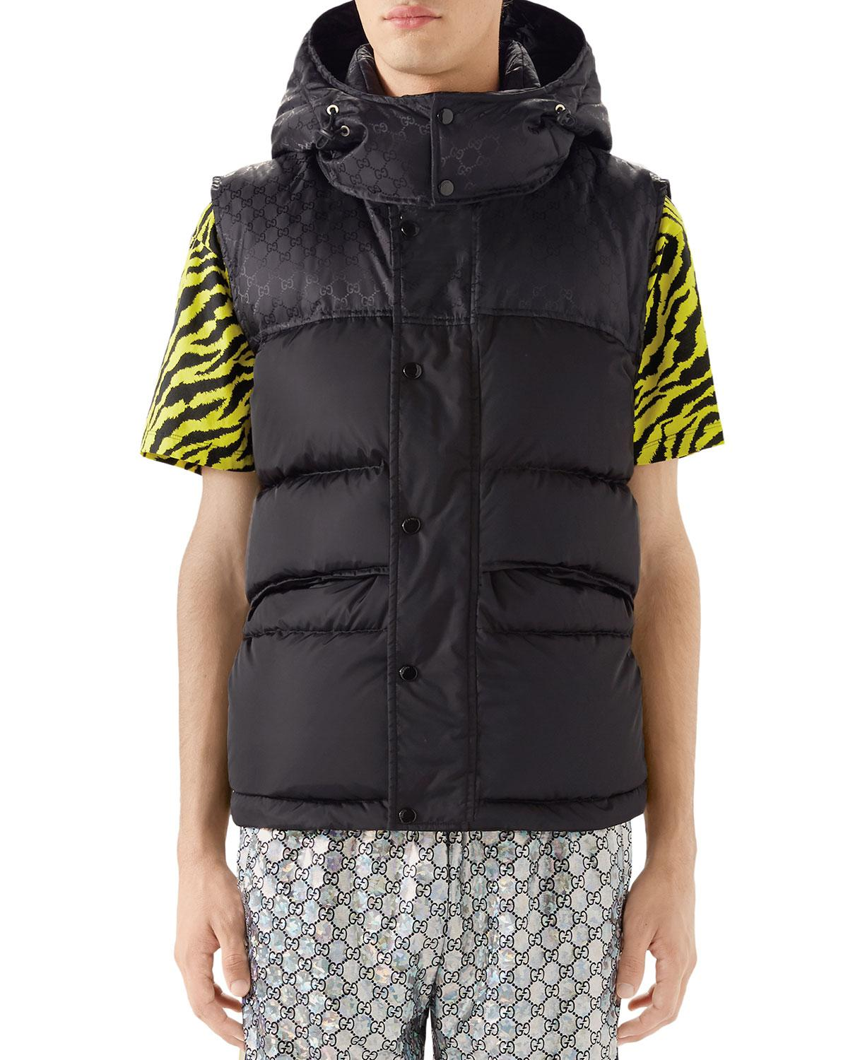f8b935b0f Lyst - Gucci Men's Interlocking-GG Hooded Puffer Vest in Black for Men