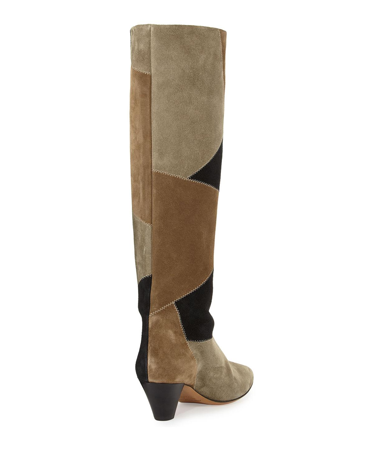 Isabel Marant Woman Buckled Suede, Smooth And Glossed-leather Over-the-knee Boots Black Size 35 Isabel Marant