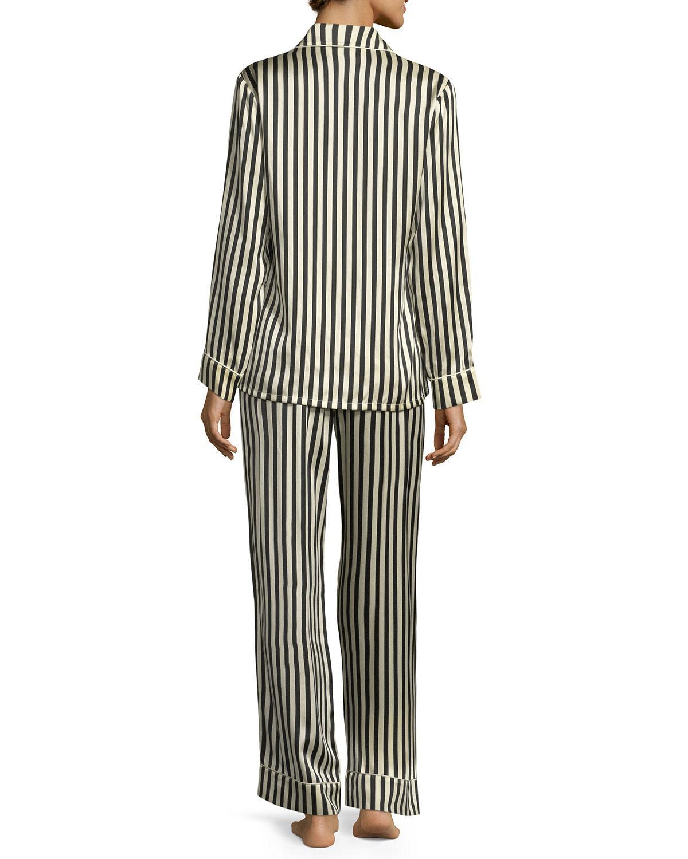 Lyst - Olivia Von Halle Lila Nika Striped Silk Long Pajama Set in Black 8ce240fca